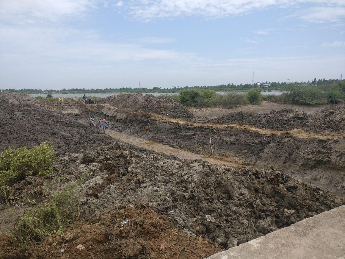 Earth work for bund construction in Cuddalore, Tamil Nadu