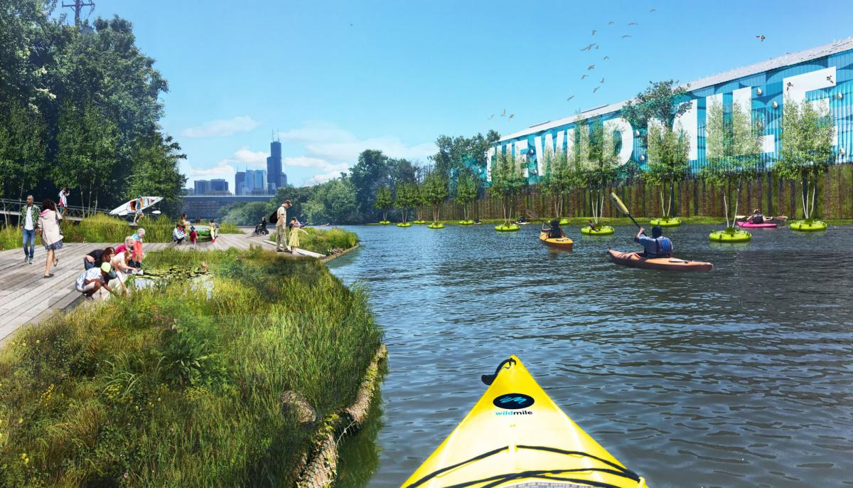Figure 2 Rendering of the ongoing redevelopment along the Chicago river into a Floating Eco-park under the Wild Mile Chicago project. Photo by Wildmilechicago.org