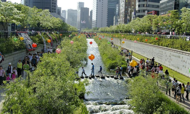Figure 5 The ecologically restored Cheonggyecheon stream, Seoul. Photo by Michael Sotnikov/flickr