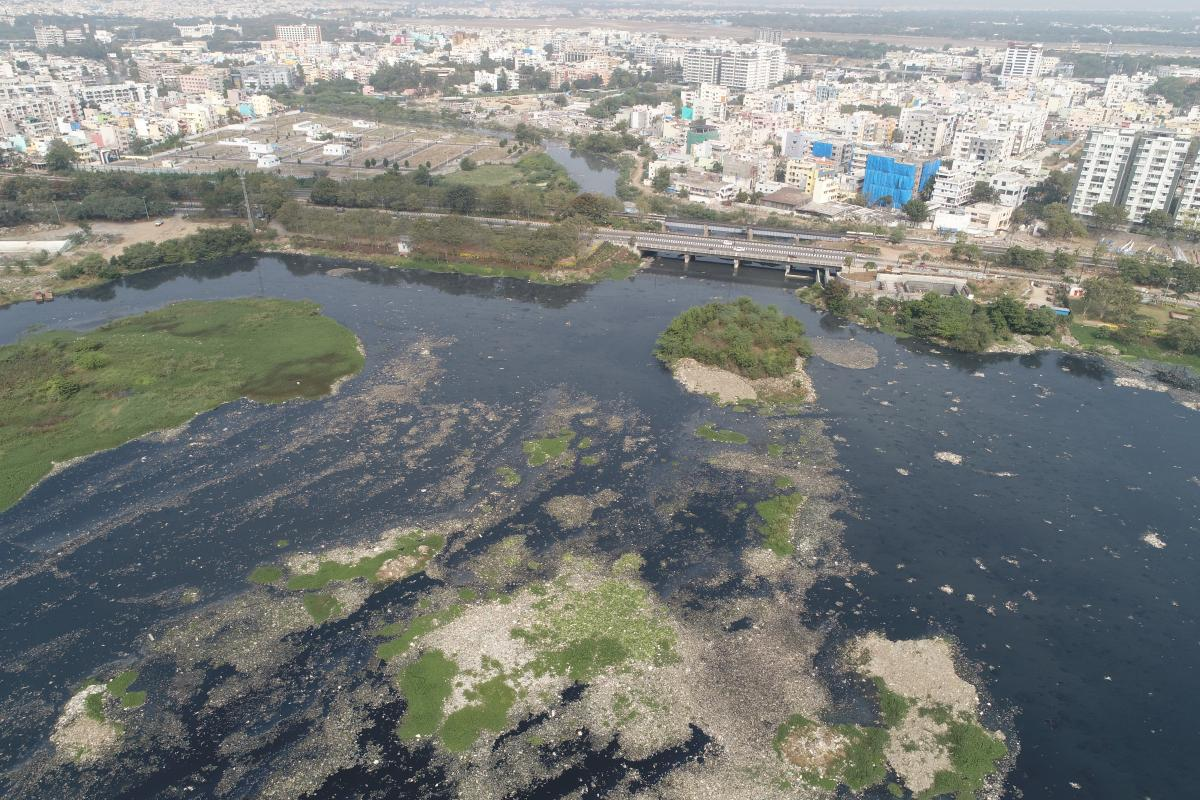 Urbanized catchment leading to flow of polluted water through inlet drain of an urban waterbody and causing significant deterioration of the health of the waterbody, Hyderabad