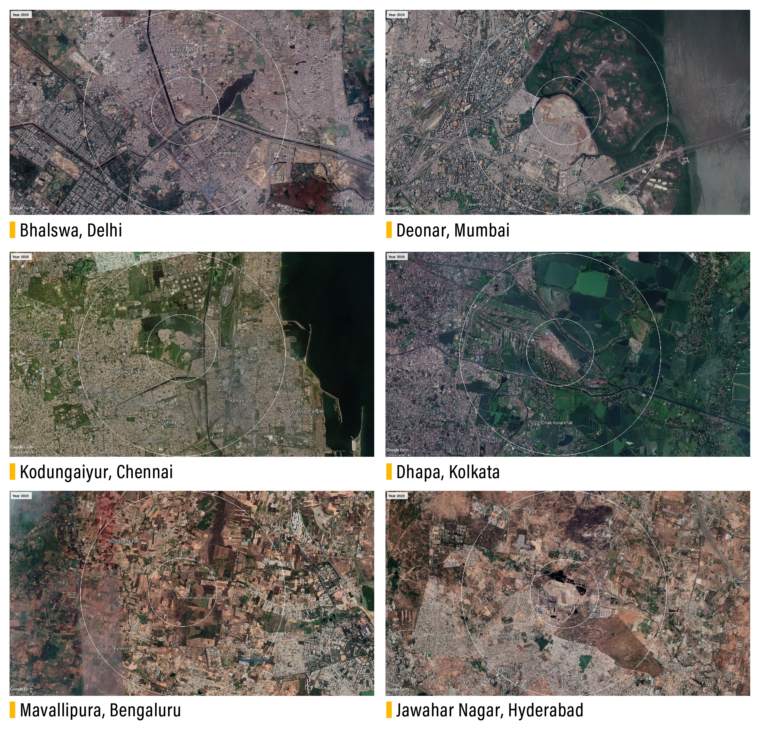 Satellite images (2020) from Google Earth of landfill sites