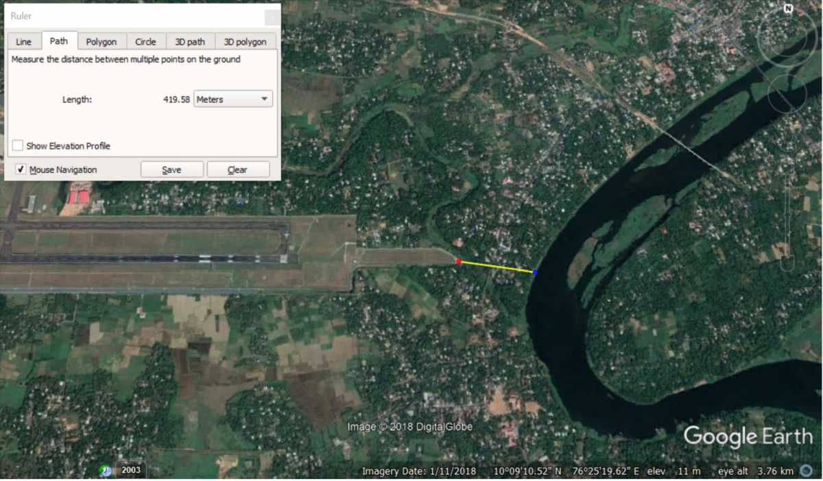 Map showing the proximity of Cochin International Airport to the Periyar river and its floodplains. Google Earth