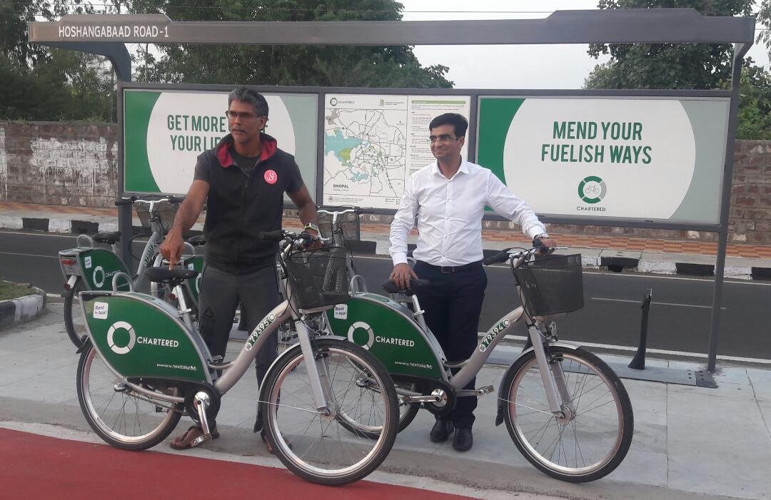 Milind Soman, Model, Actor and Brand Ambassador - India Vision Zero inspects the dedicated cycle track before the launch of PBS in Bhopal.
