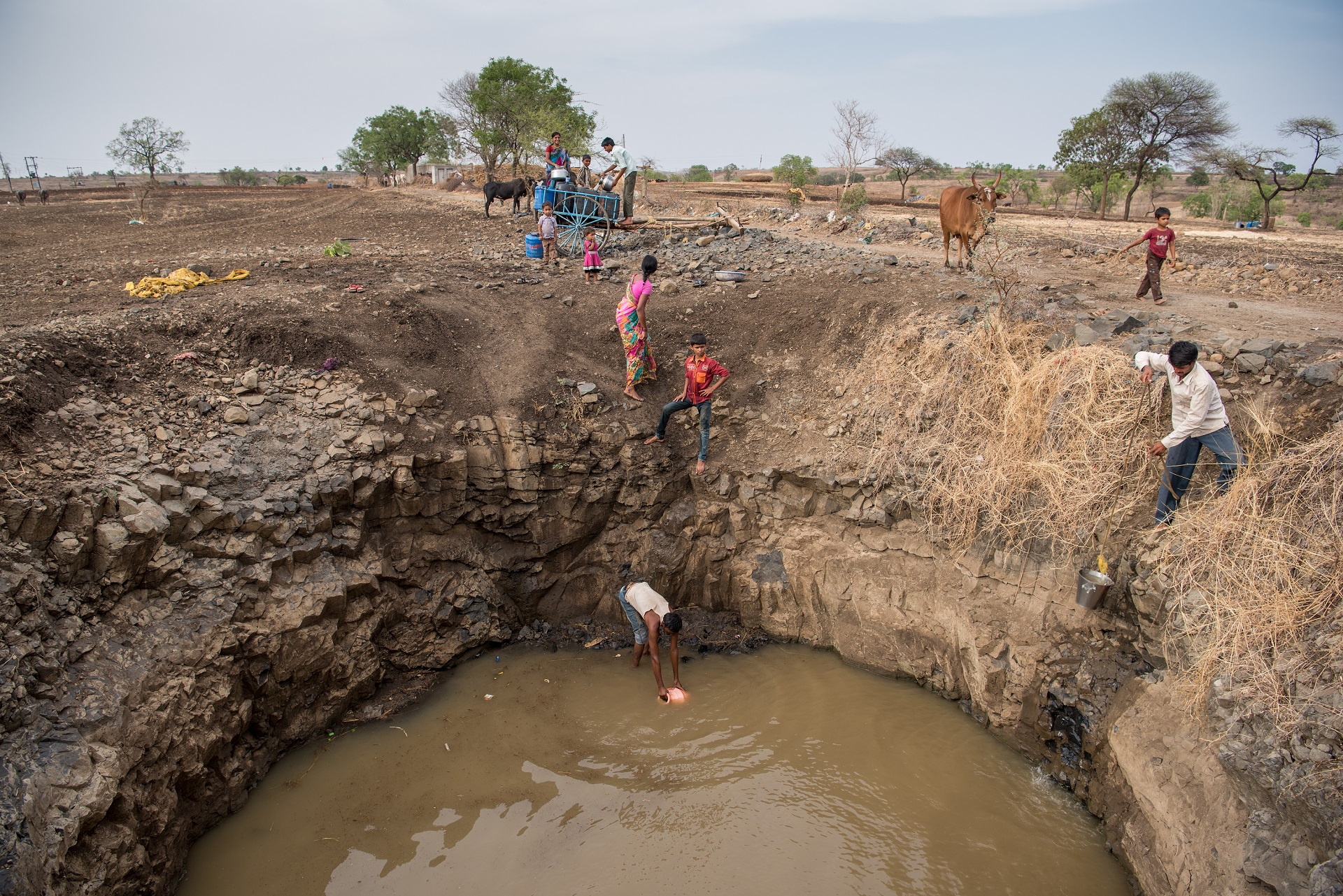 Villagers collect water in India's drought-prone Beed district.