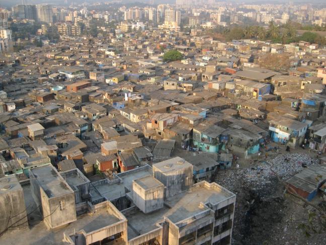 The view of a high density settlement from Gilbert Hill, Andheri, Mumbai