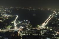 Night view of a vibrant Hussain Sagar Lake, Hyderabad Credit: WRI India