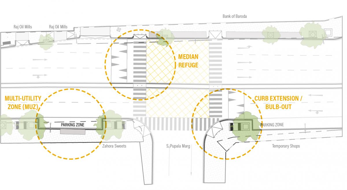 Configuration of curb extension, refuge island and multi-utility zone on Bellasis Road.