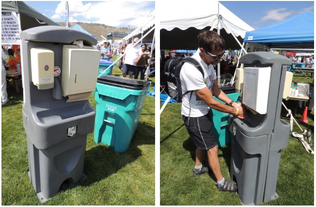 Portable handwashing station with foot pedal operation