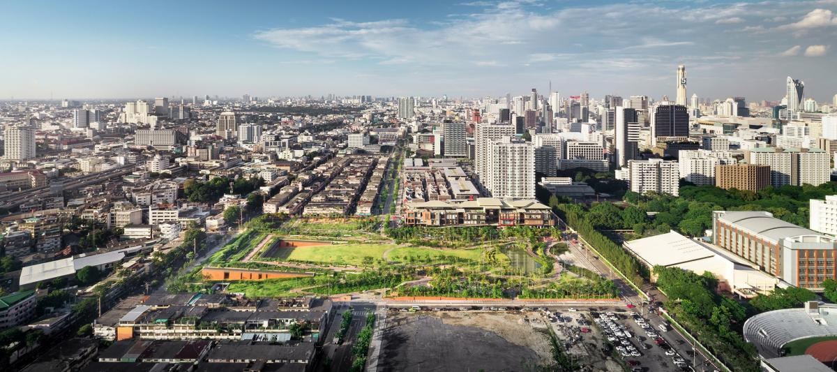 An 11-acre rooftop park in Bangkok's commercial district directs runoff into a retention system reducing pressure on underground drainage and sewer systems