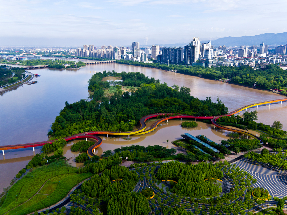 A Resilient Landscape: Yanweizhou Park in Jinhua City as part of China's Sponge city concept showcases a natural riparian landscape park designed as ecological solution to large-scale flood management