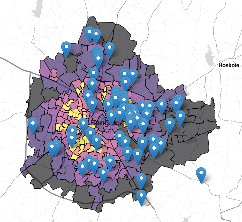 Bengaluru map with areas served by relief riders.