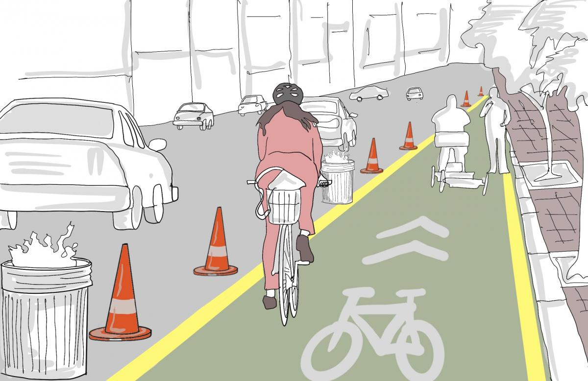 Existing Bike lanes have been widened and new ones have been created  to enable cyclists to keep further apart, across multiple American and European cities.